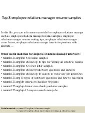 top 10 employee relations manager interview questions and answers - Employee Relation Manager Resume