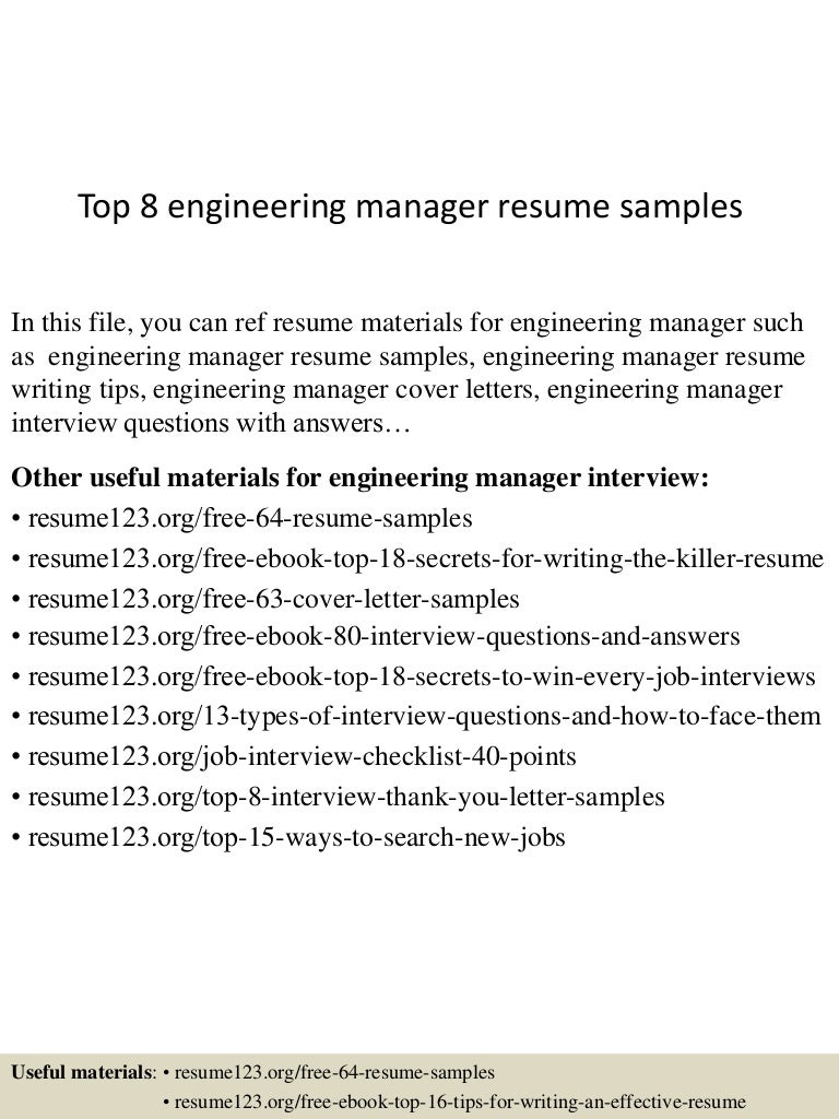 Top 8 engineering manager resume samples