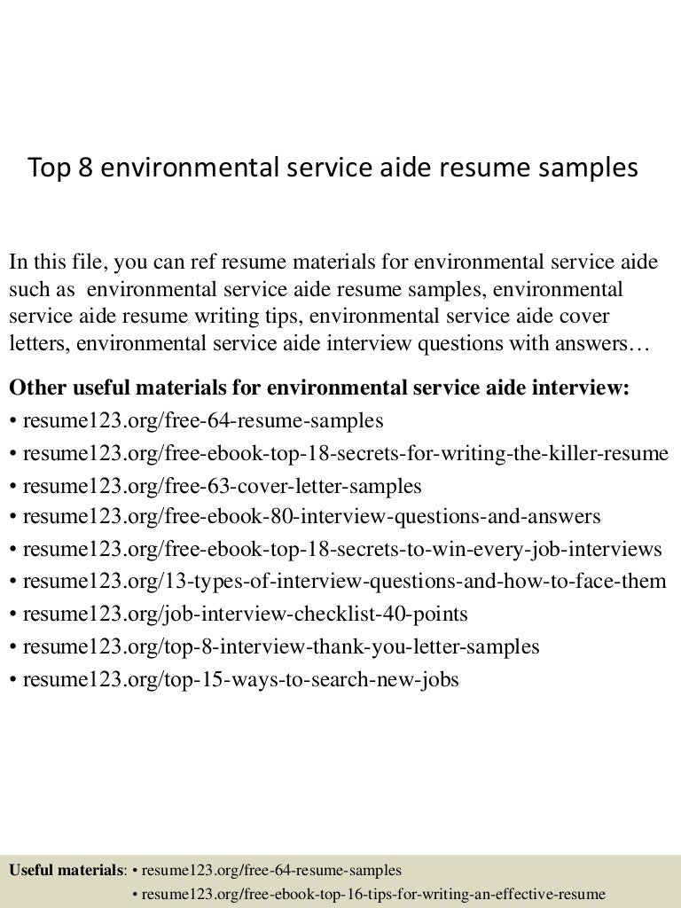 Top 8 environmental service aide resume samples