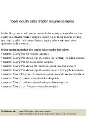 top 8 equity sales trader resume samples - Sample Resume Equity Sales Trader