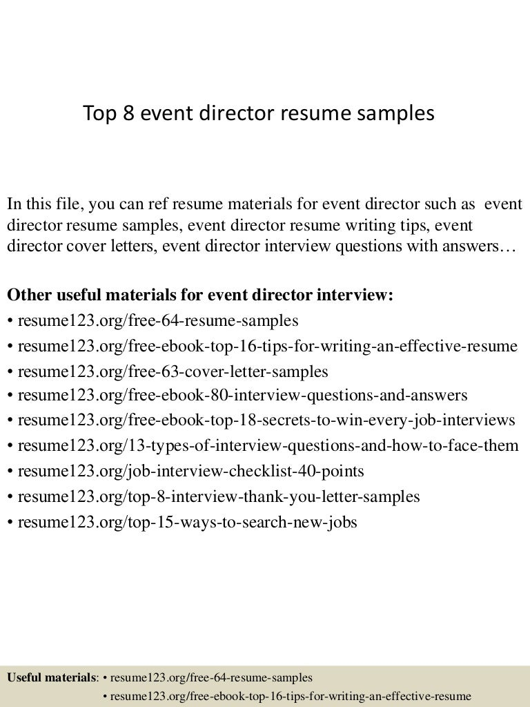Top 8 event director resume samples