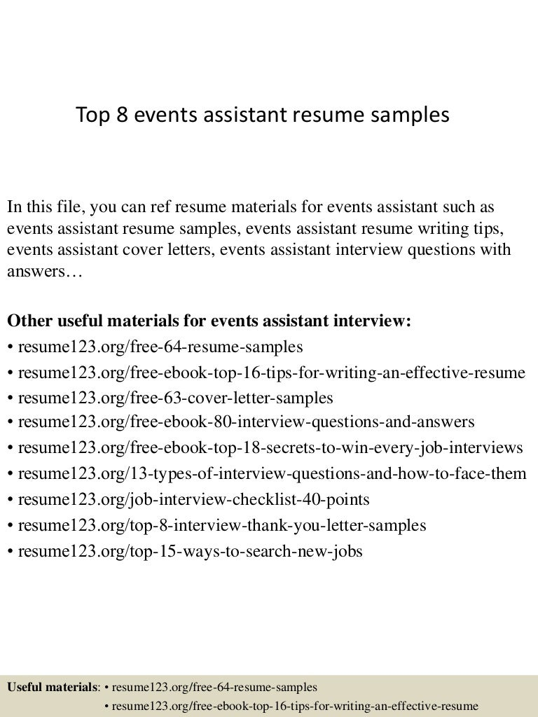 event assistant cover letter