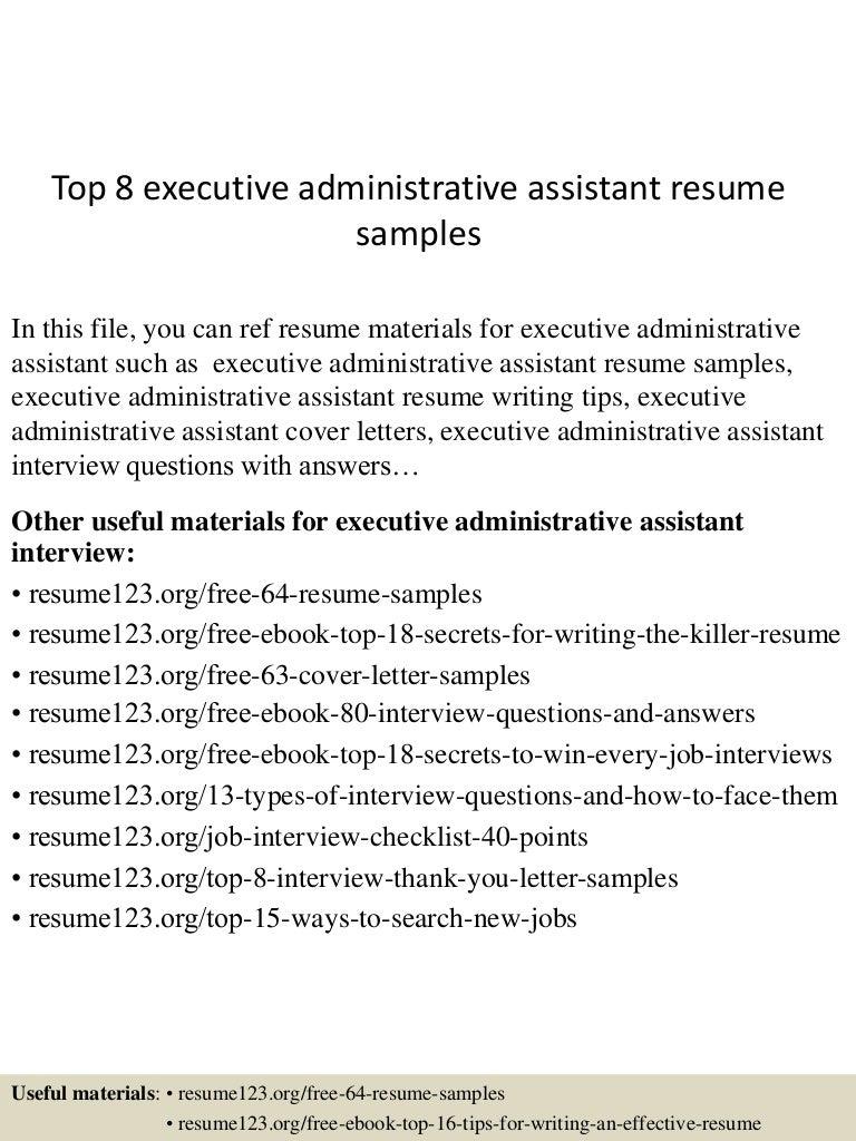 Top8executiveadministrativeassistantresumesamples 150425020043 Conversion  Gate01 Thumbnail 4jpgcb1429945286   Executive Assistant Resume Samples Free