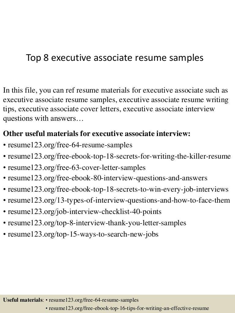 Top 8 executive associate resume samples