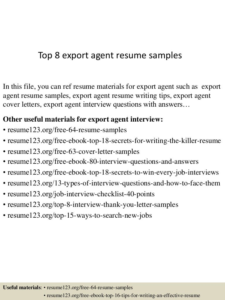 Top 8 export agent resume samples