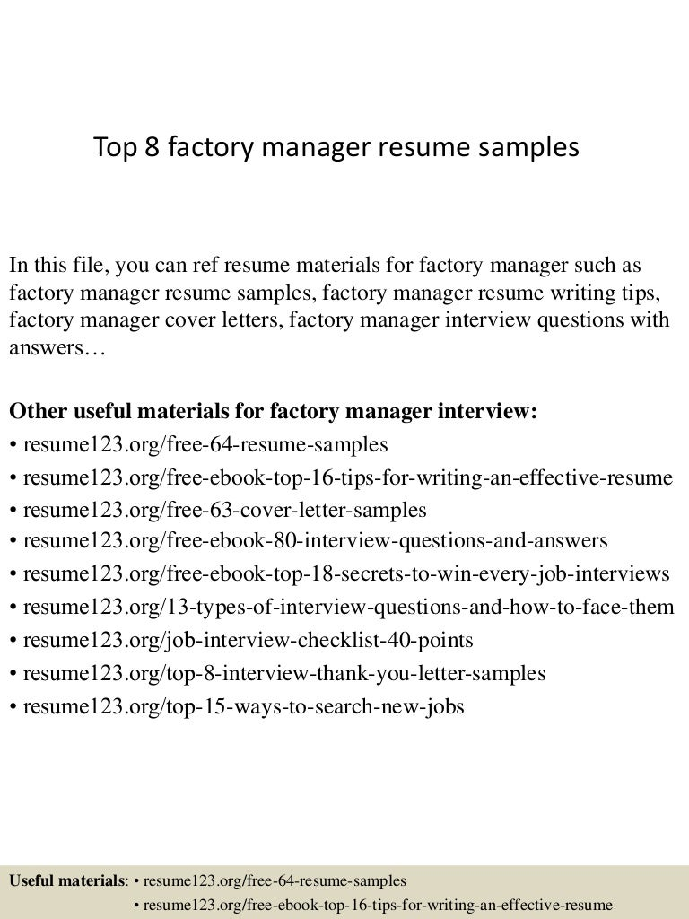 top8factorymanagerresumesamples 150331205929 conversion gate01 thumbnail 4jpgcb1427853609 - Sample Resume Factory Worker