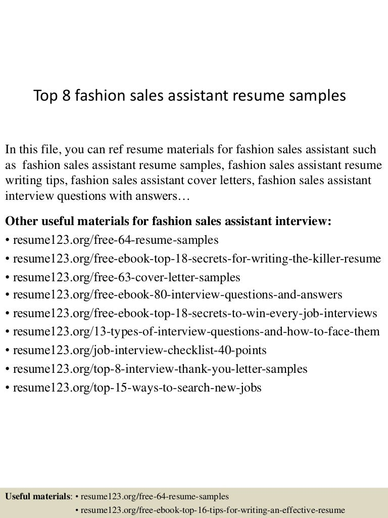 Top 8 Fashion Sales Assistant Resume Samples