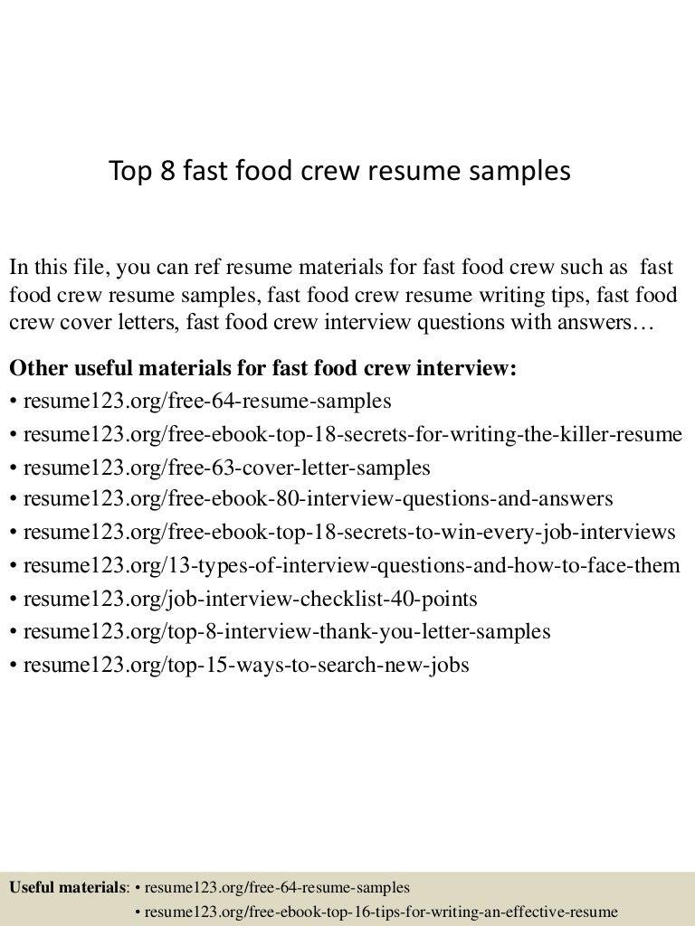 Resume Sample Resume Jollibee Service Crew top8fastfoodcrewresumesamples 150529084237 lva1 app6891 thumbnail 4 jpgcb1432889002
