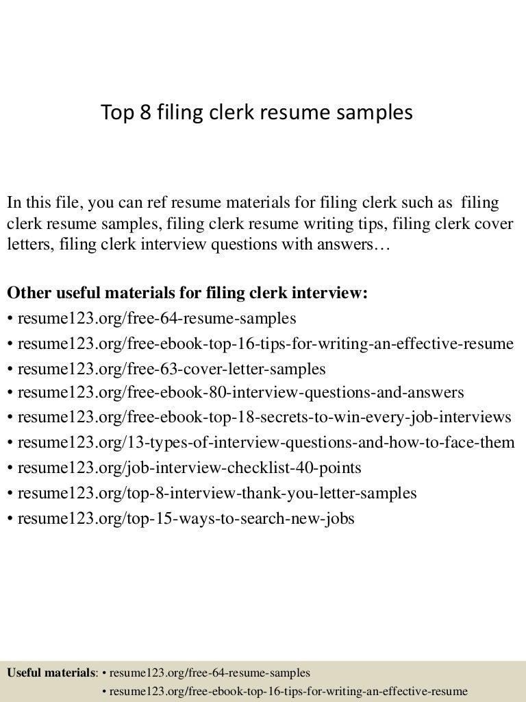 top8filingclerkresumesamples 150403194025 conversion gate01 thumbnail 4jpgcb1428108069. Resume Example. Resume CV Cover Letter