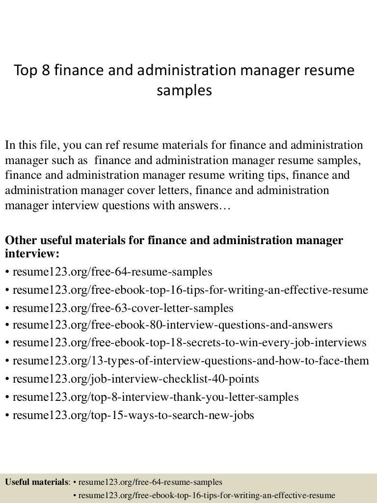 Top8financeandadministrationmanagerresumesamples 150410091043 Conversion Gate01 Thumbnail 4 Jpg Cb 1428675090