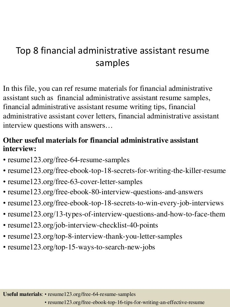 Top 8 financial administrative assistant resume samples