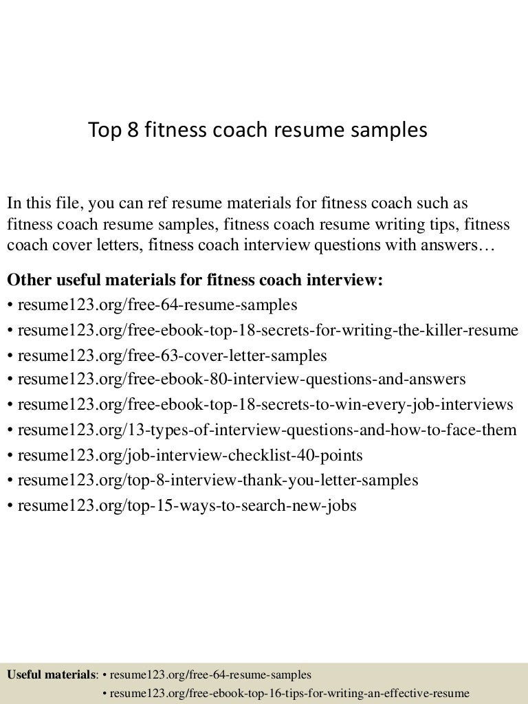 Manager And Language Trainer Resume Samples Fitness Personal