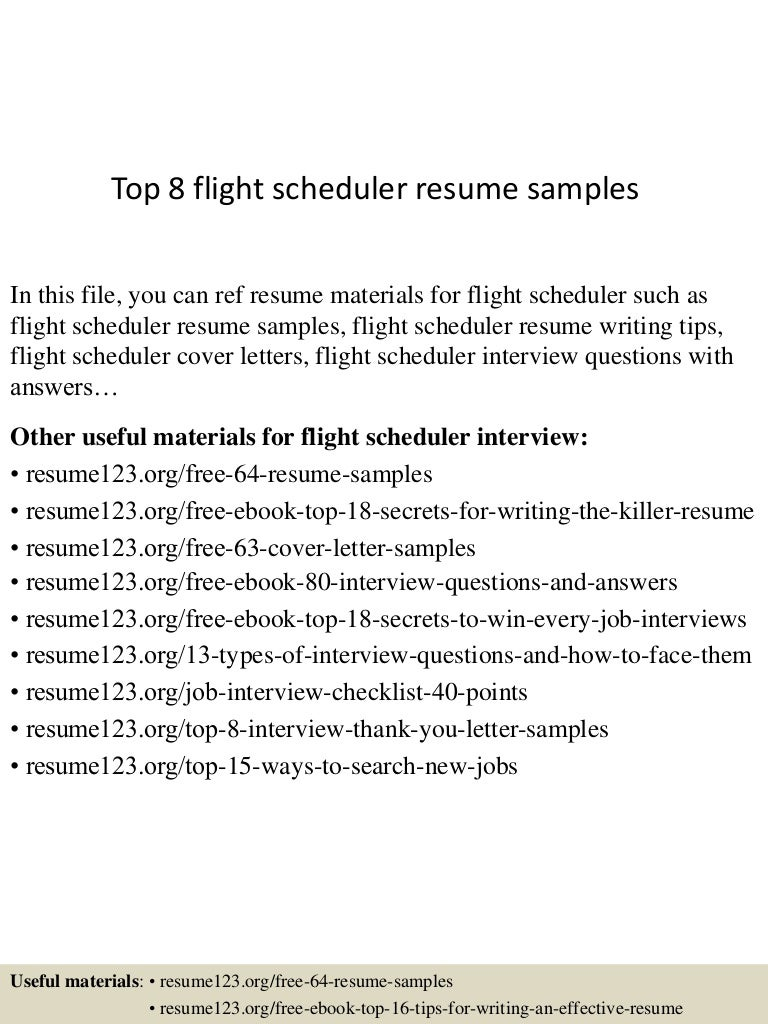 resume Scheduler Resume Sample top8flightschedulerresumesamples 150730022641 lva1 app6891 thumbnail 4 jpgcb1438223248