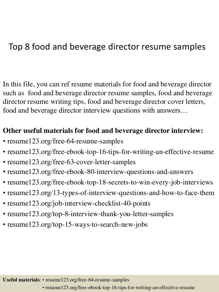resume Director Of Food And Beverage Resume top8foodandbeveragedirectorresumesamples 150406202019 conversion gate01 thumbnail 4 jpgcb1428369664