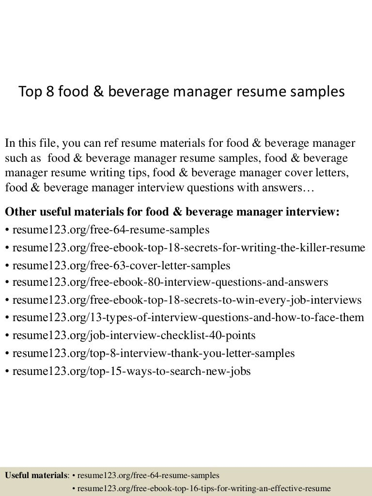 Top 8 food & beverage manager resume samples