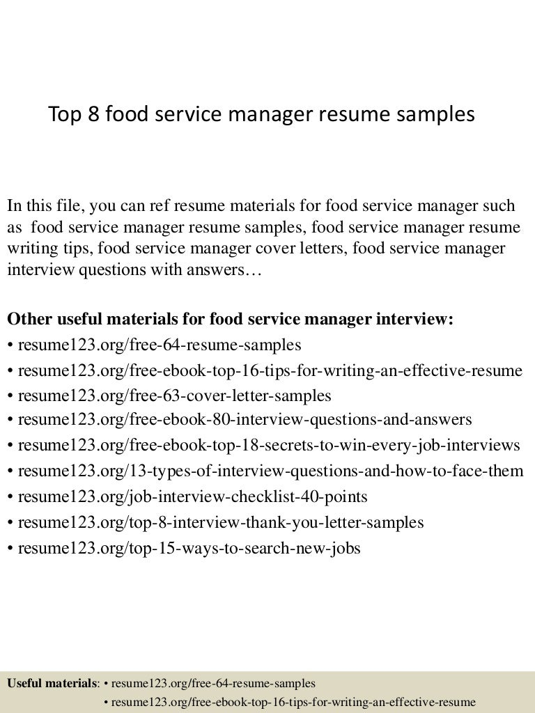 Resume Examples For Food Service Manager Vosvetenet – Sample Resume for Food Service Manager