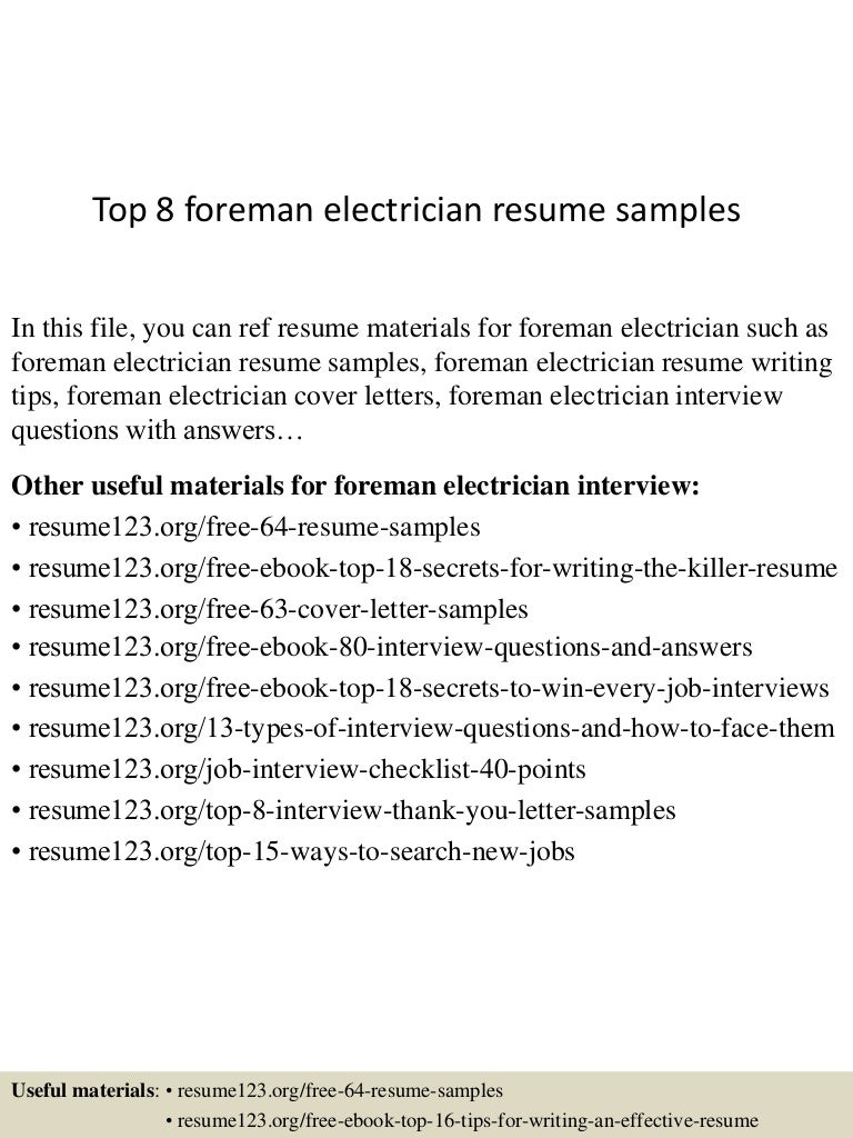 top8foremanelectricianresumesamples 150723075006 lva1 app6892 thumbnail 4jpgcb1437637852 - Sample Electrician Resume