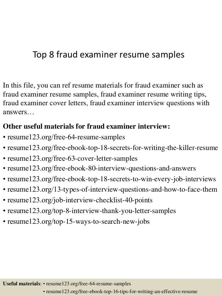 Top 8 fraud examiner resume samples