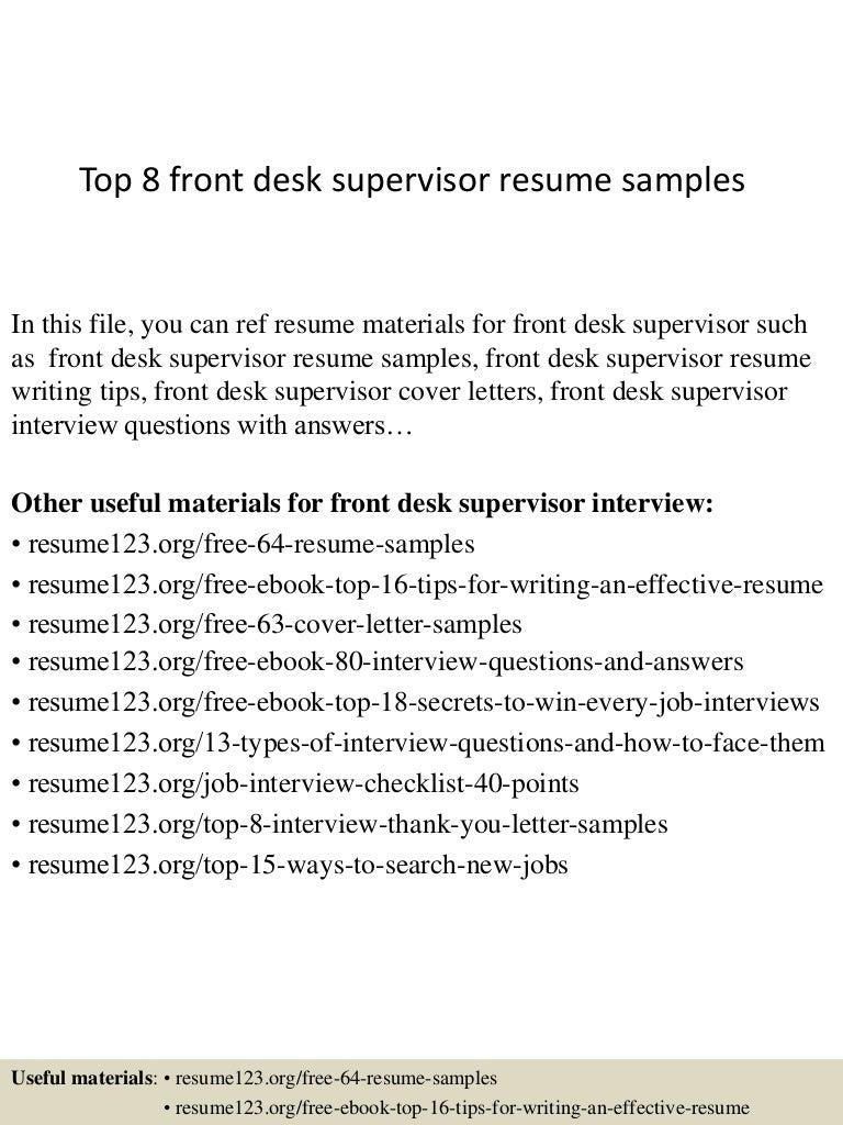top 8 front desk supervisor resume samples