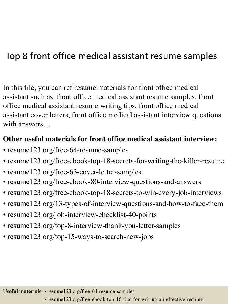 dental assistant resumes samples front office medical assistant resume sampleml topfrontofficemedicalassistantresumesampleslvaappthumbnailcb - Medical Assistant Resumes Samples
