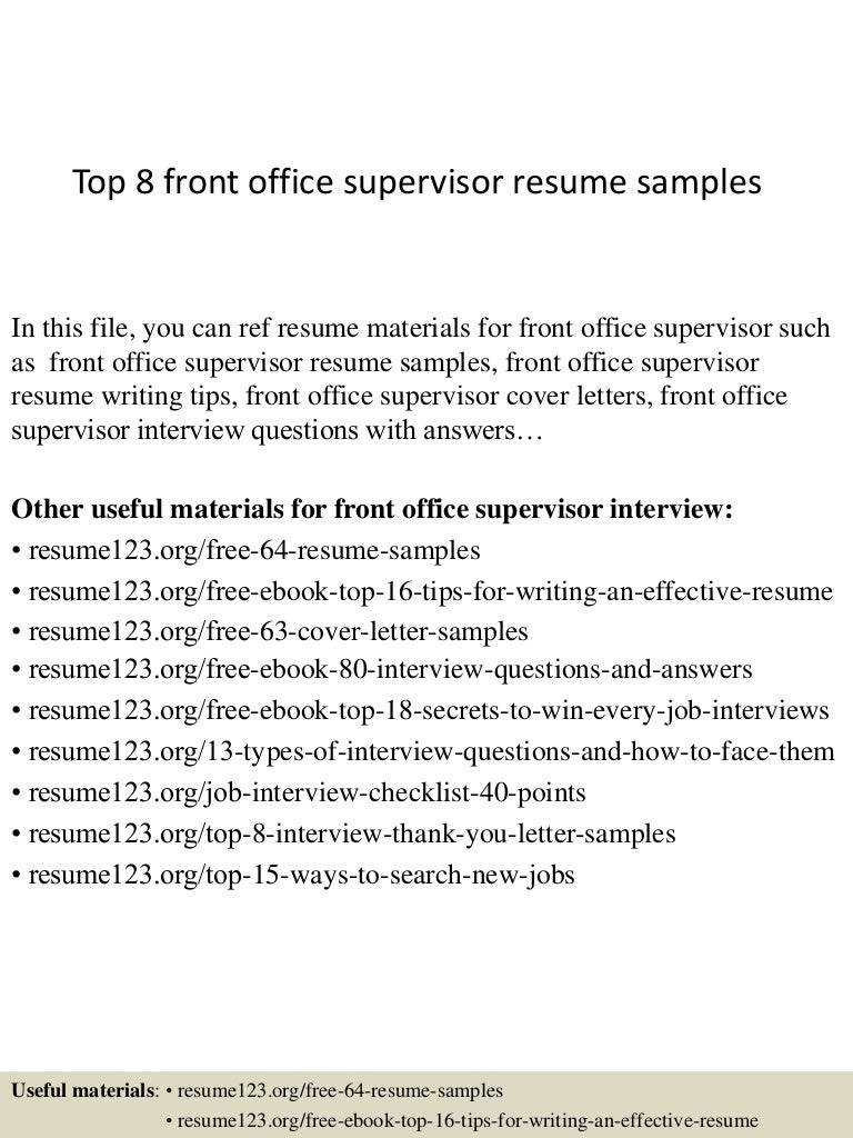 front office resume samples cipanewsletter top8frontofficesupervisorresumesamples 150331214824 conversion gate01 thumbnail 4 jpg cb u003d1427856547 from slideshare net