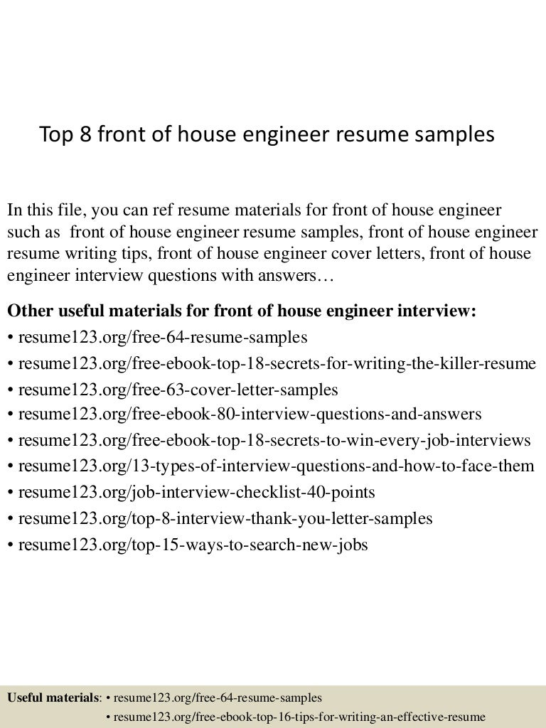 Top 8 Front Of House Engineer Resume Samples