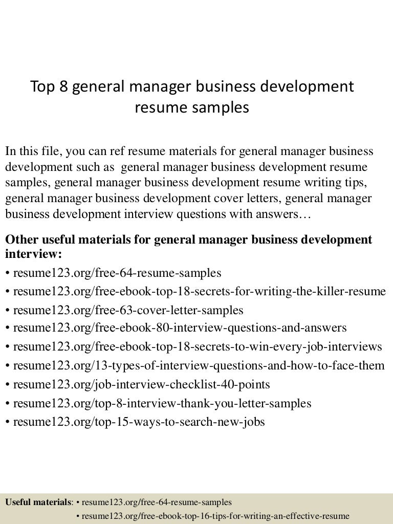 Top 8 general manager business development resume samples