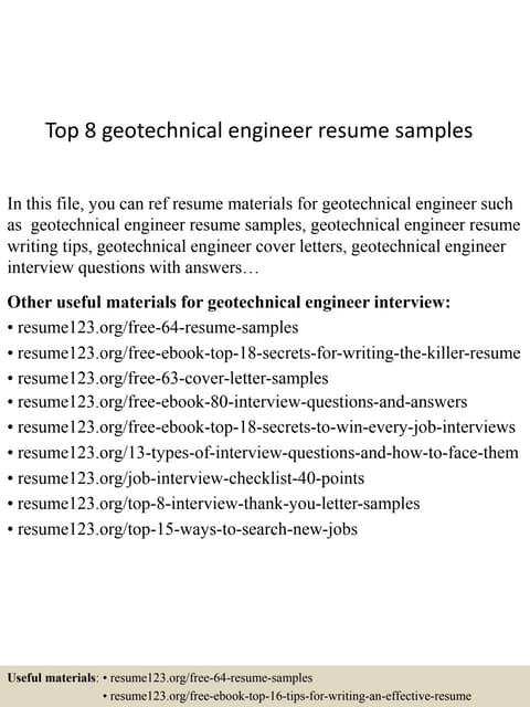 top 8 geotechnical engineer resume samples - Marine Geotechnical Engineer Sample Resume