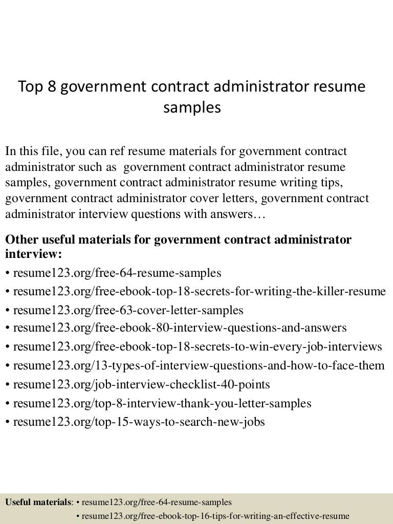top8governmentcontractadministratorresumesamples 150606091217 lva1 app6891 thumbnail 4 top 8 government contract administrator resume samples - Contract Administration Sample Resume