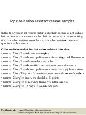 Top 8 Hair Salon Assistant Resume Samples
