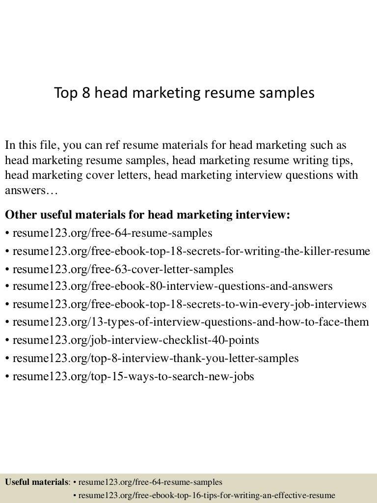 Top 8 head marketing resume samples