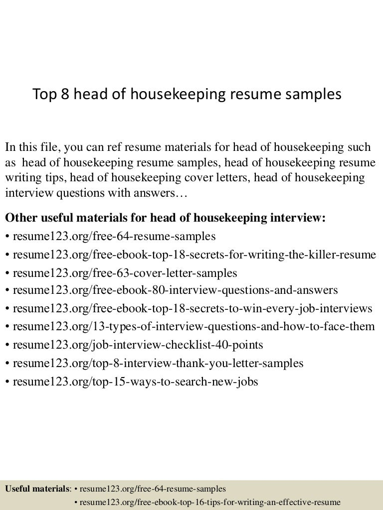 top8headofhousekeepingresumesamples 150723080017 lva1 app6891 thumbnail 4 top 8 head of housekeeping resume samples head housekeeper cover letter - Sample Housekeeper Cover Letter