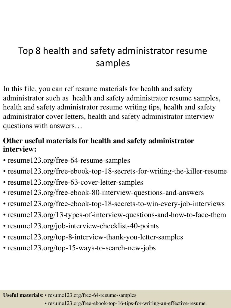health and safety administrator sample resume resume sample health and safety administrator sample resume health and safety administrator sample resume