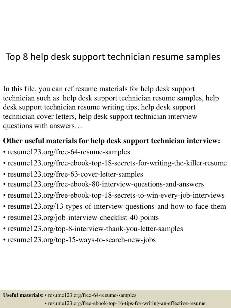 resume Help Desk Support Resume top8helpdesksupporttechnicianresumesamples 150528131641 lva1 app6891 thumbnail 4 jpgcb1432819676