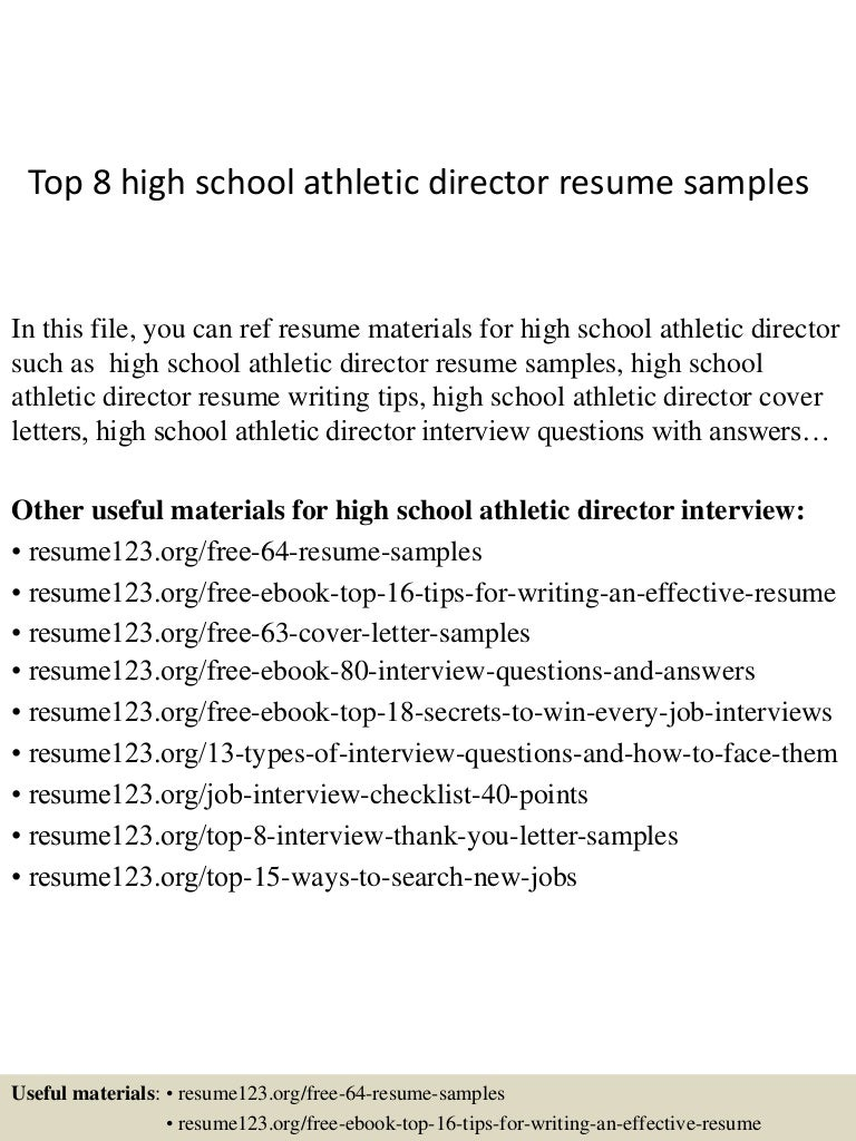 top8highschoolathleticdirectorresumesamples 150410043223 conversion gate01 thumbnail 4jpgcb1428640356 - Sample High School Athletic Director Resume