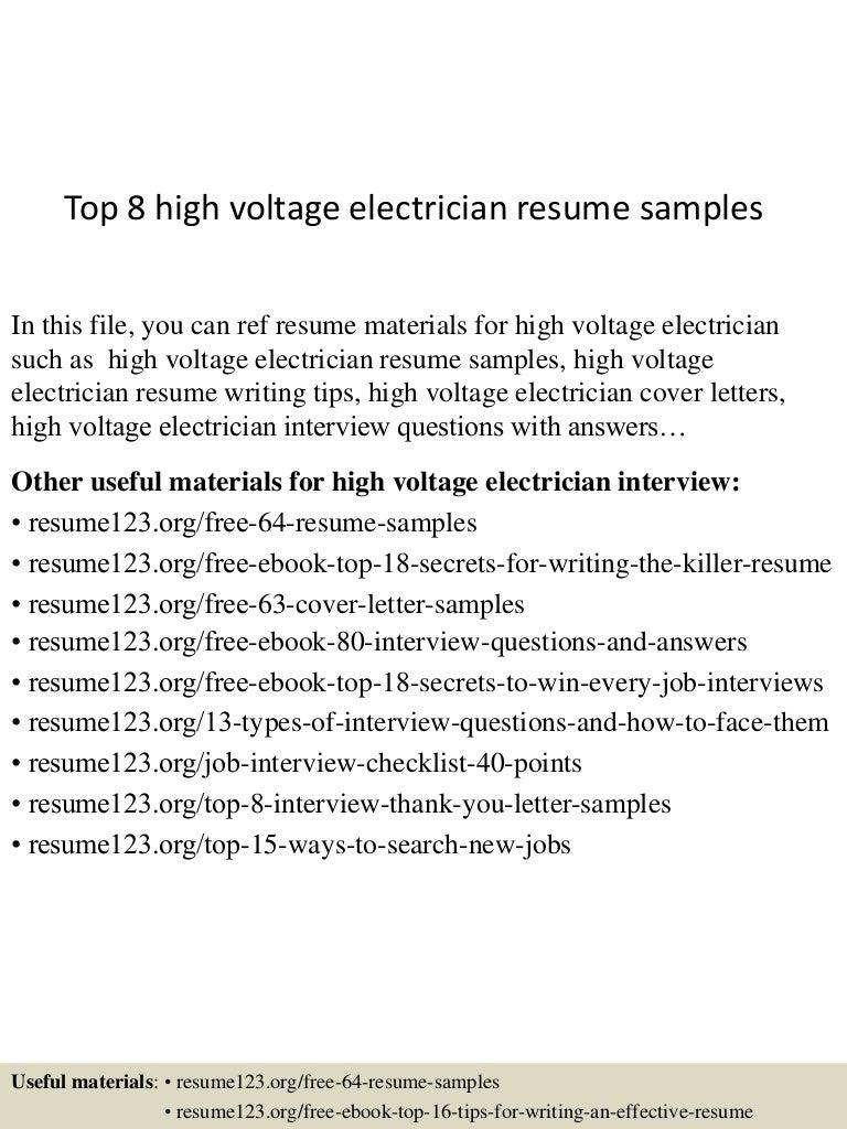 Top8highvoltageelectricianresumesamples 150530085822 Lva1 App6892 Thumbnail 4?cbu003d1432976356