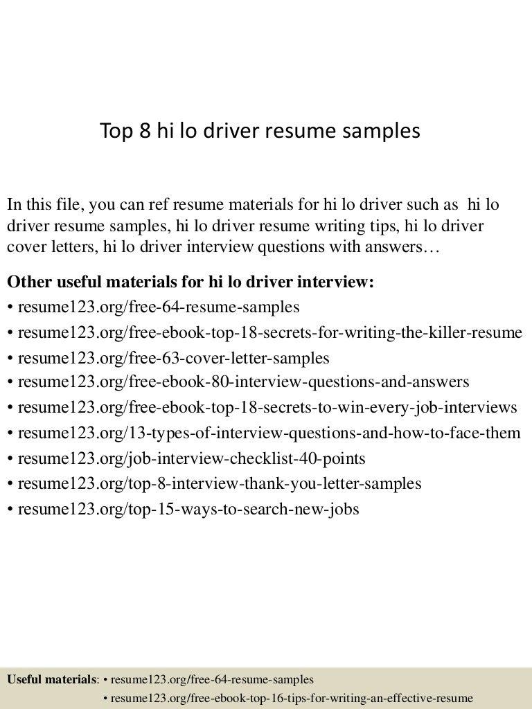 Sample of resume for hazmat handler