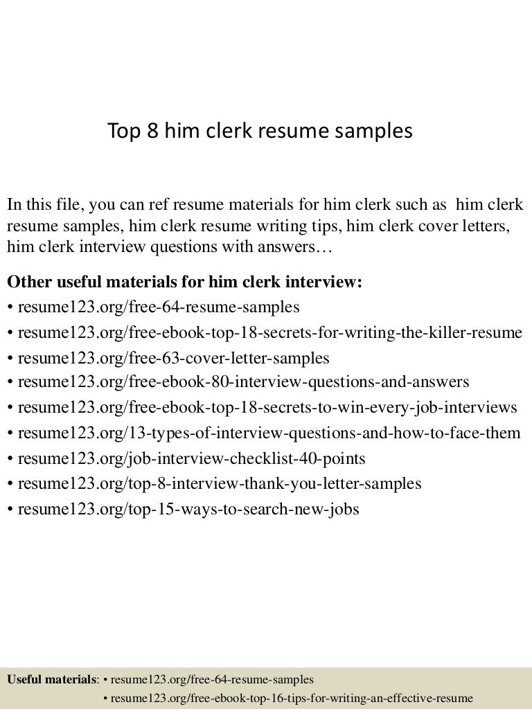 Top 8 him clerk resume samples