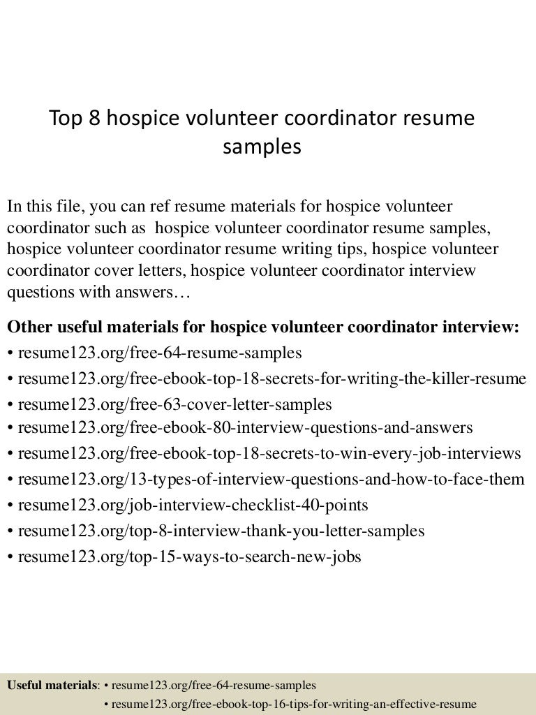 Top 8 hospice volunteer coordinator resume samples
