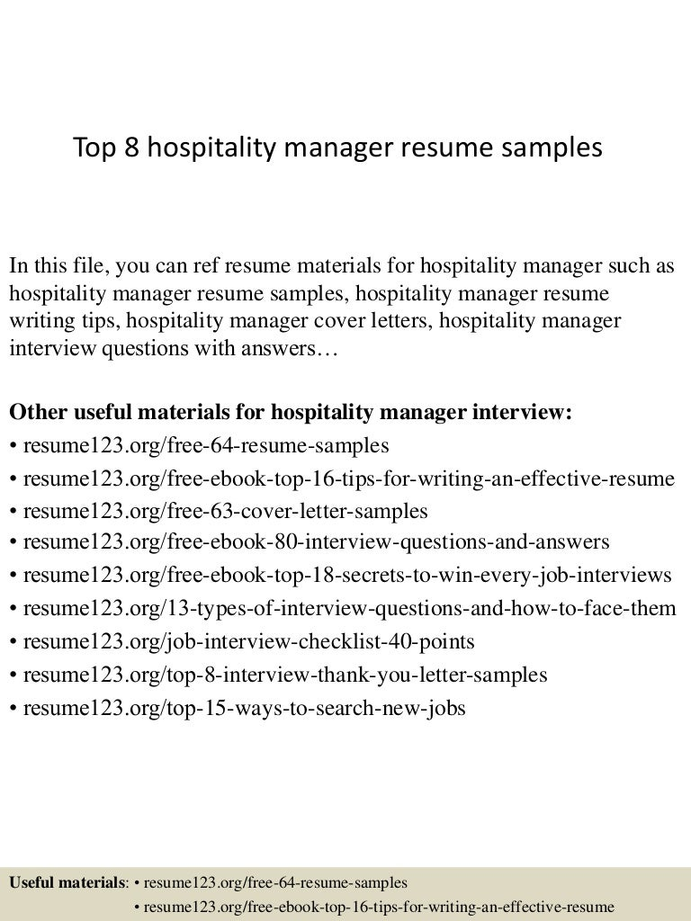 top8hospitalitymanagerresumesamples 150410092801 conversion gate01 thumbnail 4 jpg cb 1428676124