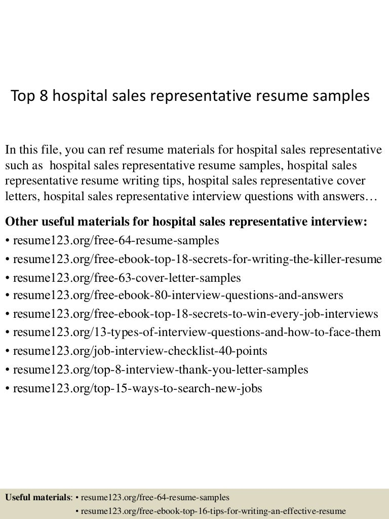 Top8hospitalsalesrepresentativeresumesamples 150705141653 Lva1 App6892 Thumbnail 4cb1436105856