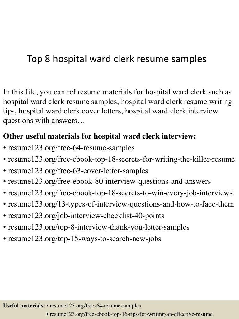 Top 8 Hospital Ward Clerk Resume Samples
