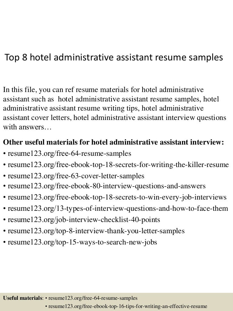 Top 8 hotel administrative assistant resume samples
