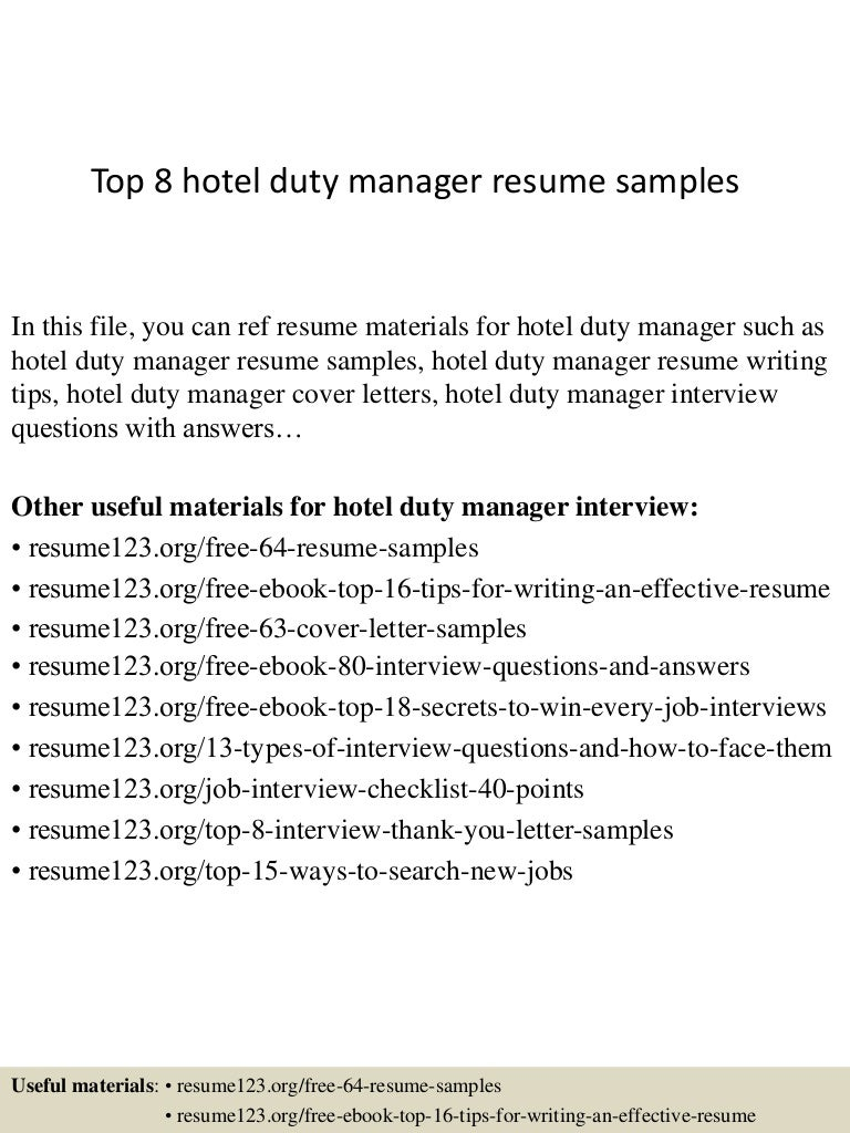 top 8 hotel duty manager resume samples