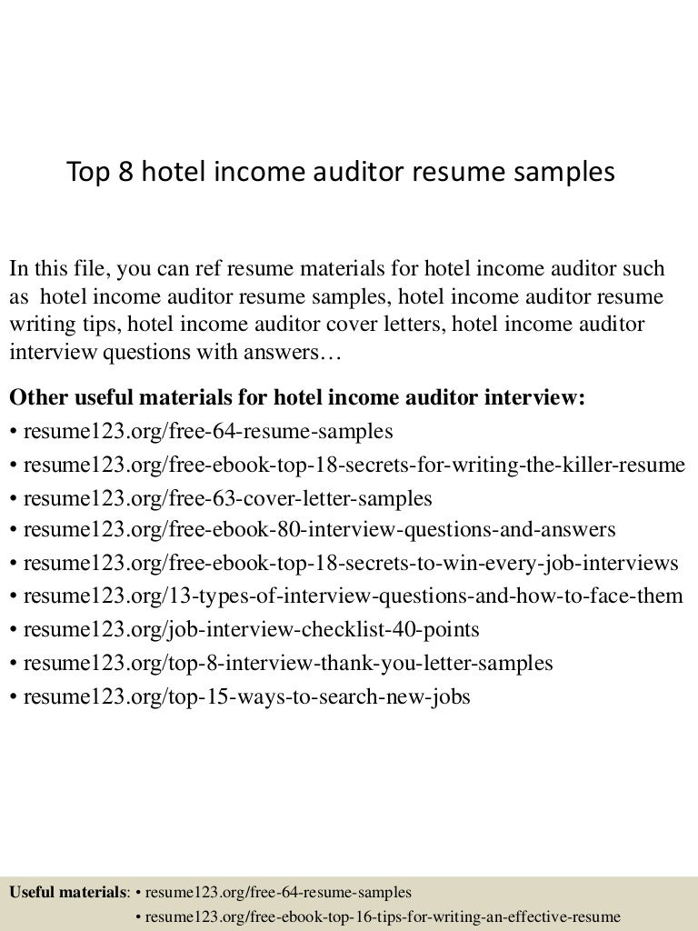 night auditor resume sample cipanewsletter top8hotelincomeauditorresumesamples 150528050903 lva1 app6891 thumbnail 4 jpg cb u003d1432789805 from slideshare net