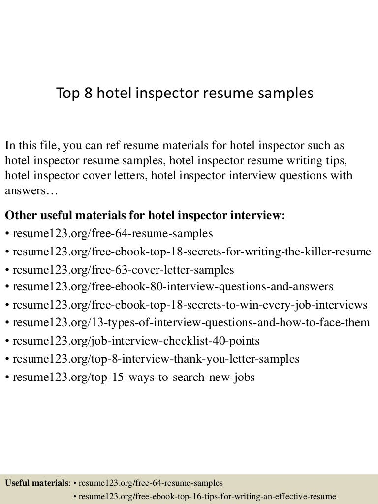 hotel inspector cover letter - Template
