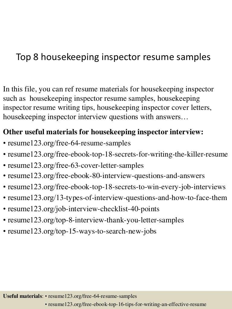 Top 8 housekeeping inspector resume samples