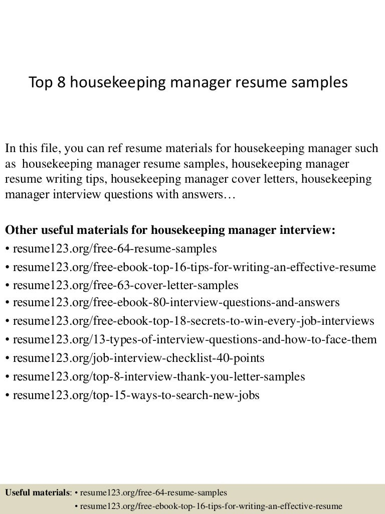 top8housekeepingmanagerresumesamples 150402093713 conversion gate01 thumbnail 4 jpg cb 1427985476