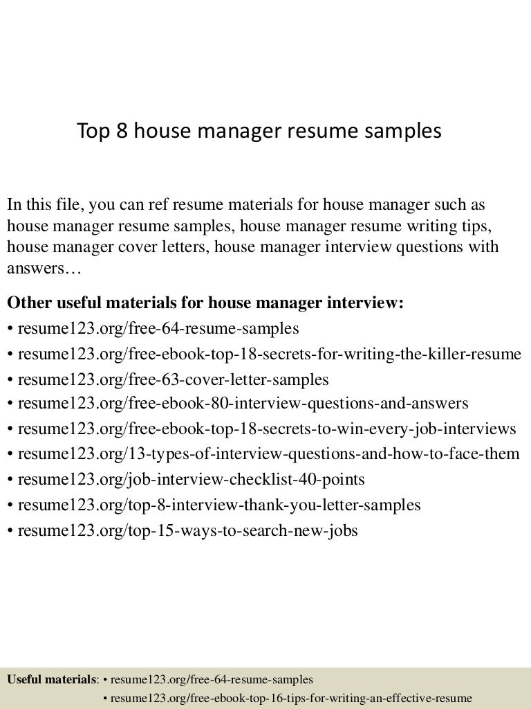 Personal Assistant Household Manager Resume - Virtren.com