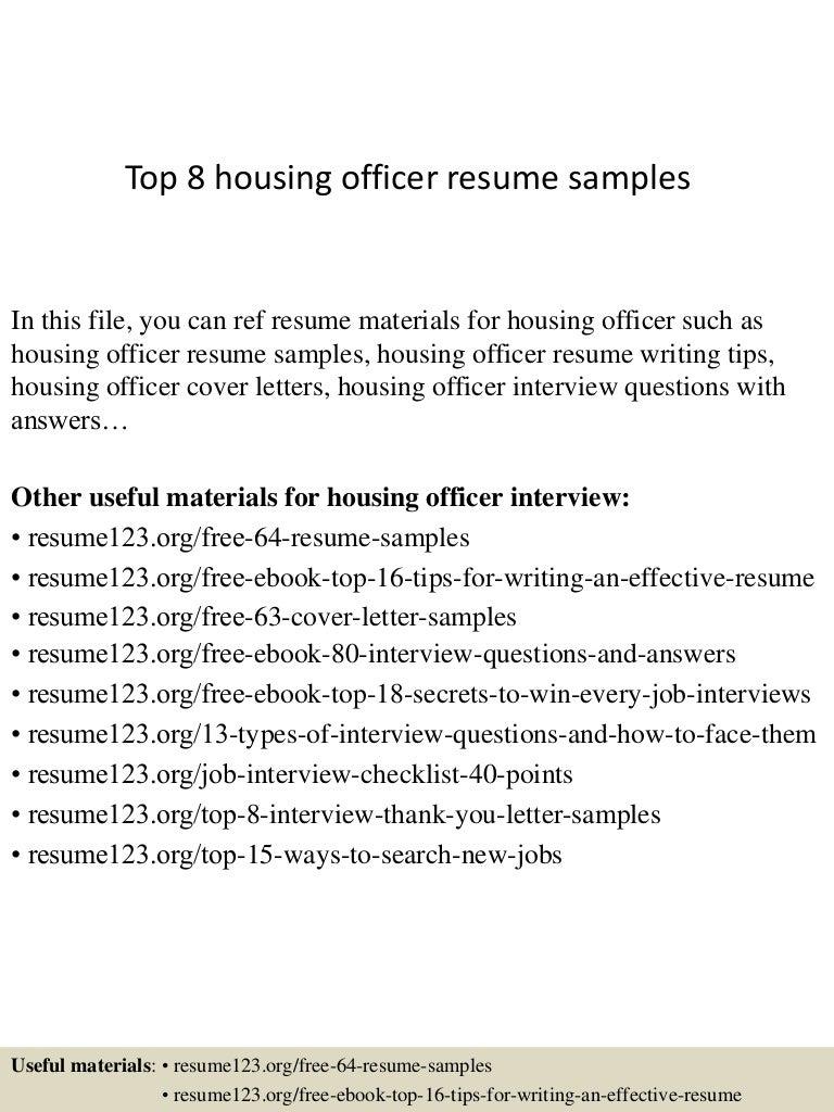 Top 8 Housing Officer Resume Samples
